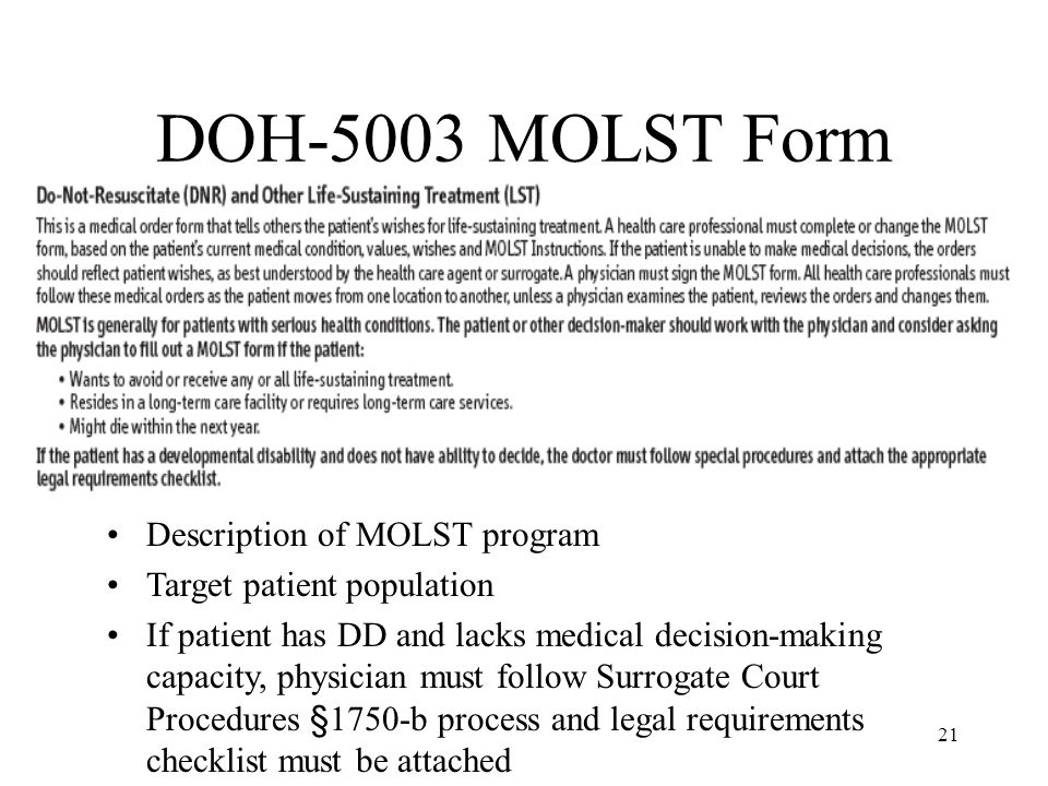 DOH-5003 MOLST Form Description of MOLST program