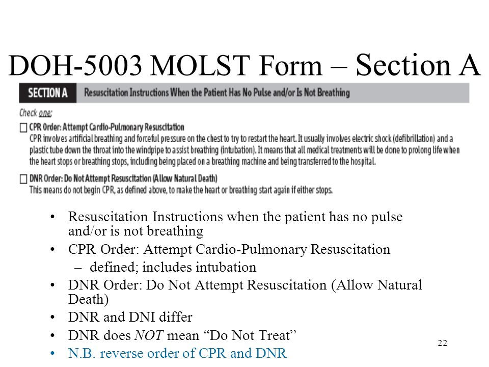 DOH-5003 MOLST Form – Section A