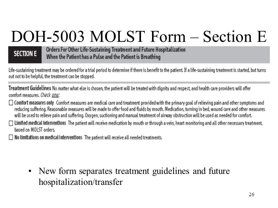 DOH-5003 MOLST Form – Section E