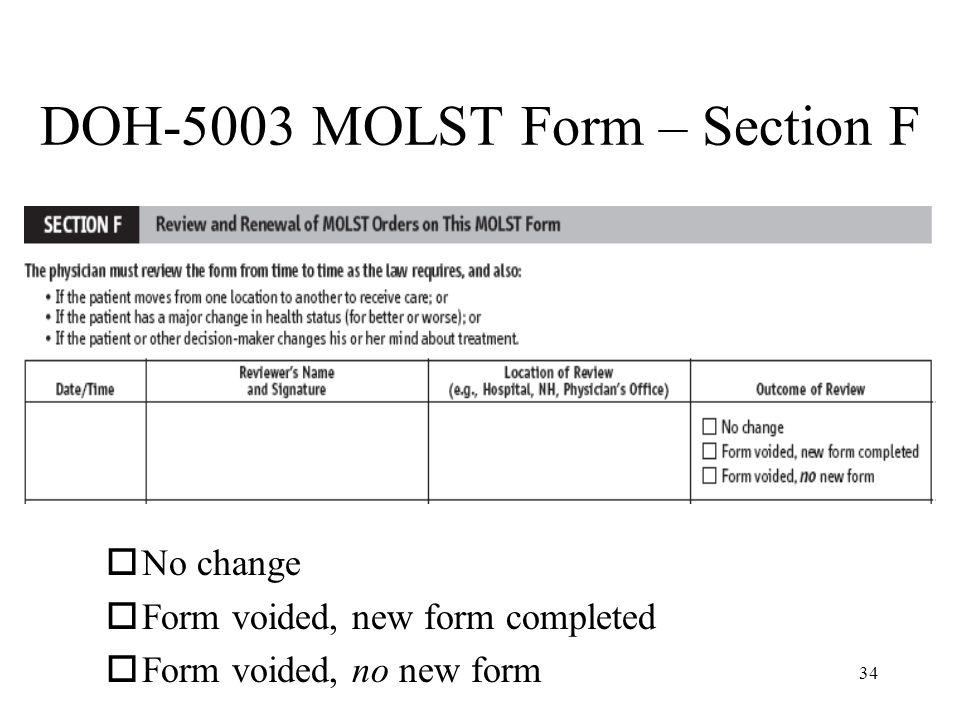 DOH-5003 MOLST Form – Section F