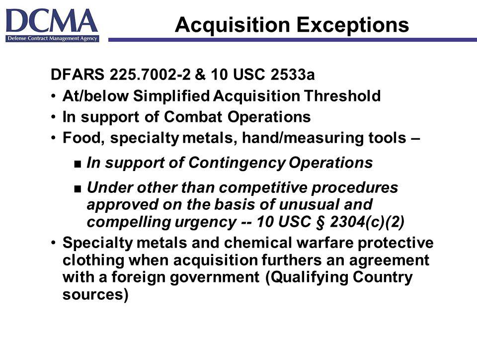 Acquisition Exceptions