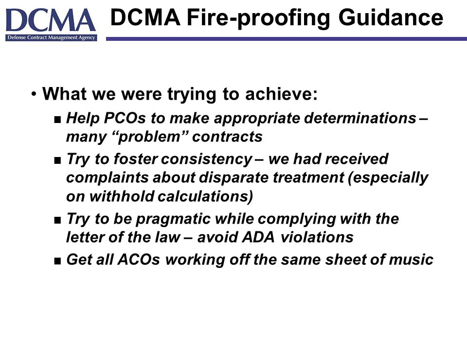 DCMA Fire-proofing Guidance