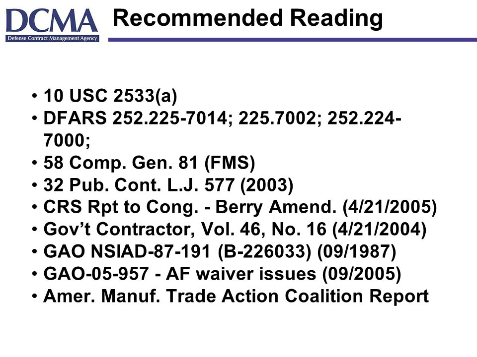 Recommended Reading 10 USC 2533(a)