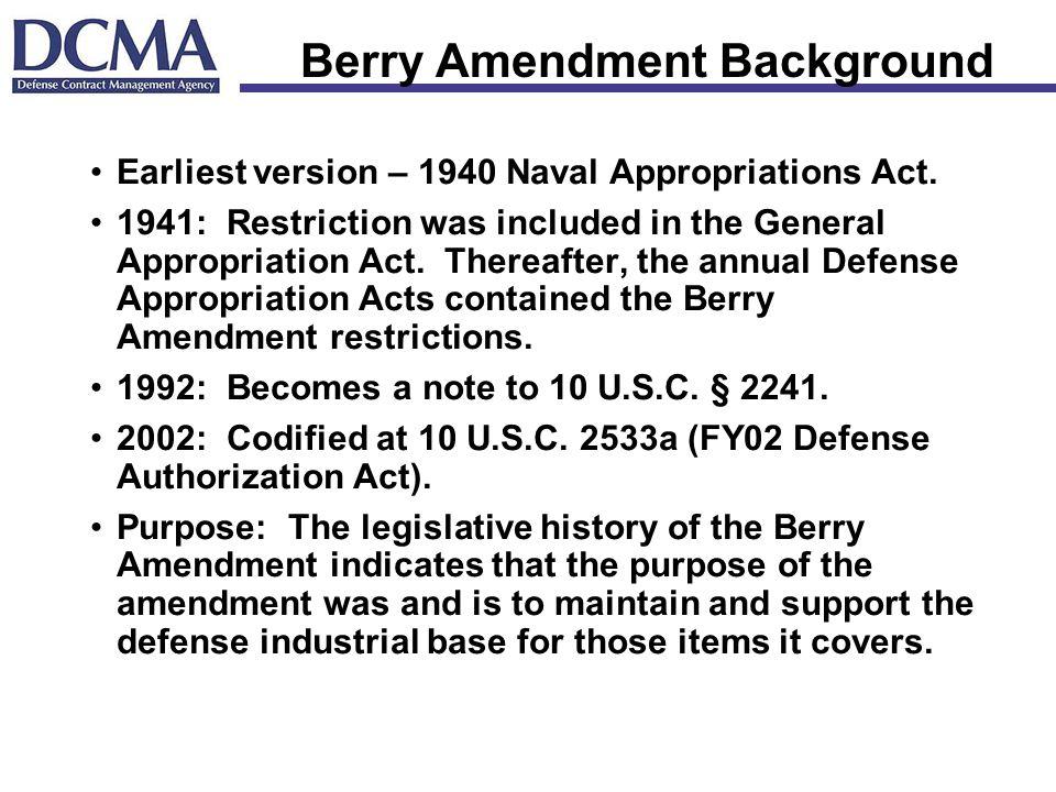 Berry Amendment Background