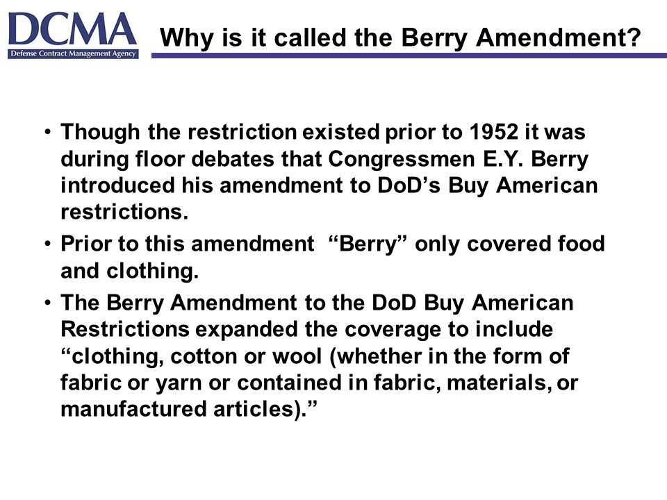 Why is it called the Berry Amendment