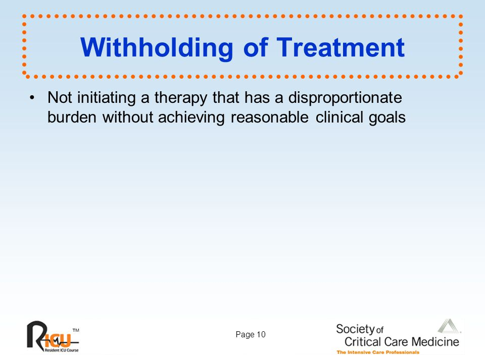 Withholding of Treatment