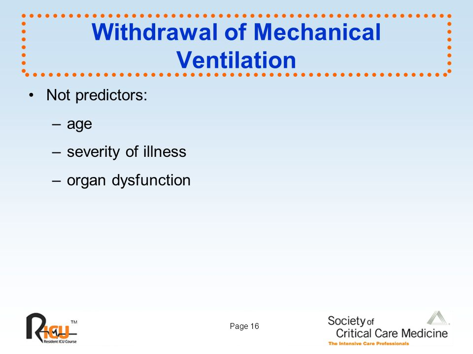 Withdrawal of Mechanical Ventilation