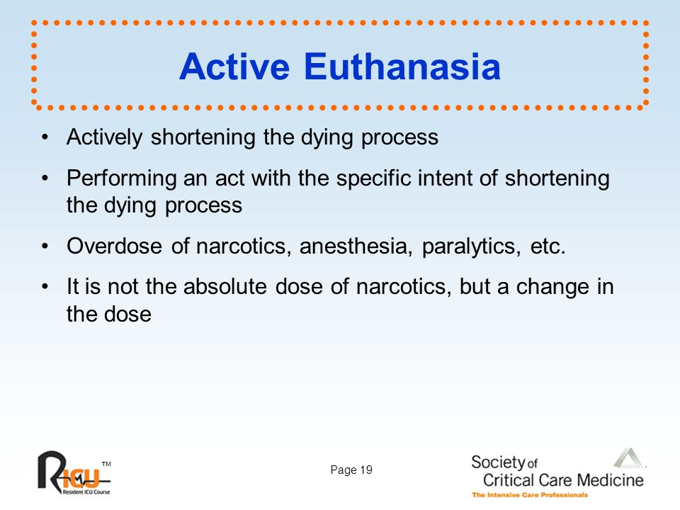 Active Euthanasia Actively shortening the dying process
