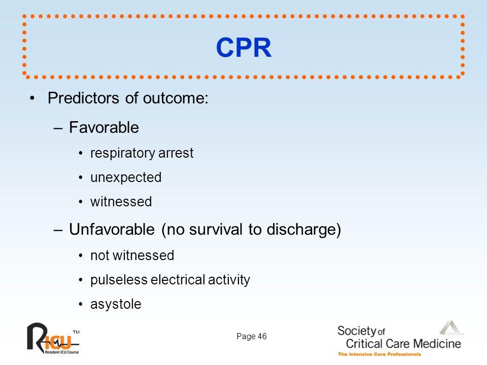 CPR Predictors of outcome: Favorable