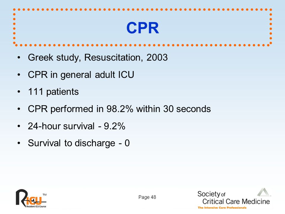 CPR Greek study, Resuscitation, 2003 CPR in general adult ICU