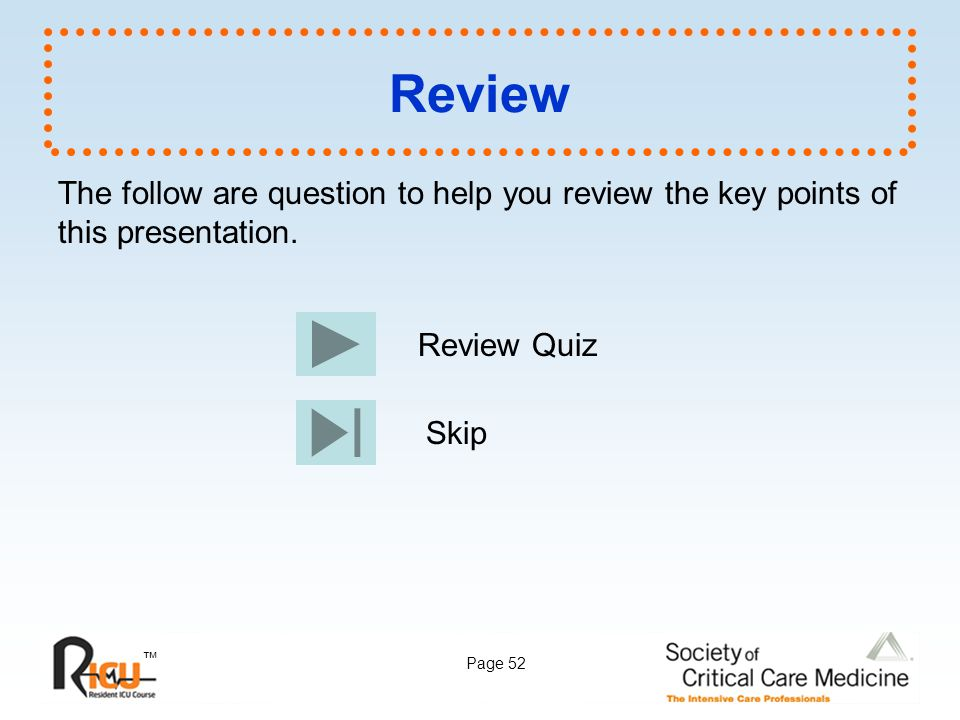 Review The follow are question to help you review the key points of this presentation. Review Quiz.