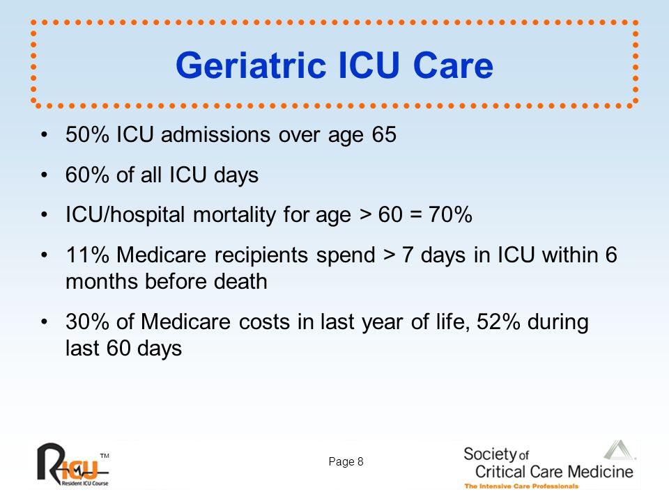 Geriatric ICU Care 50% ICU admissions over age 65 60% of all ICU days