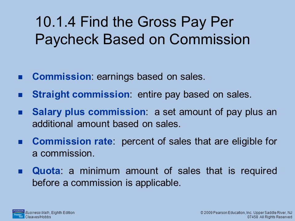 Find the Gross Pay Per Paycheck Based on Commission