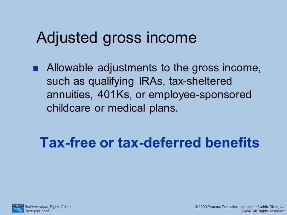Tax-free or tax-deferred benefits