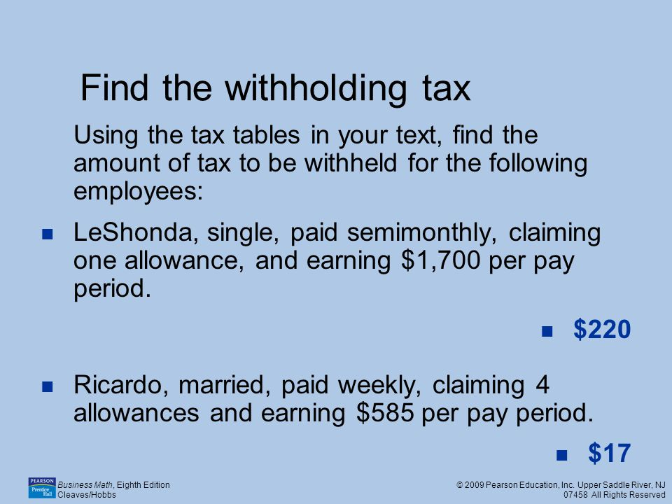 Find the withholding tax