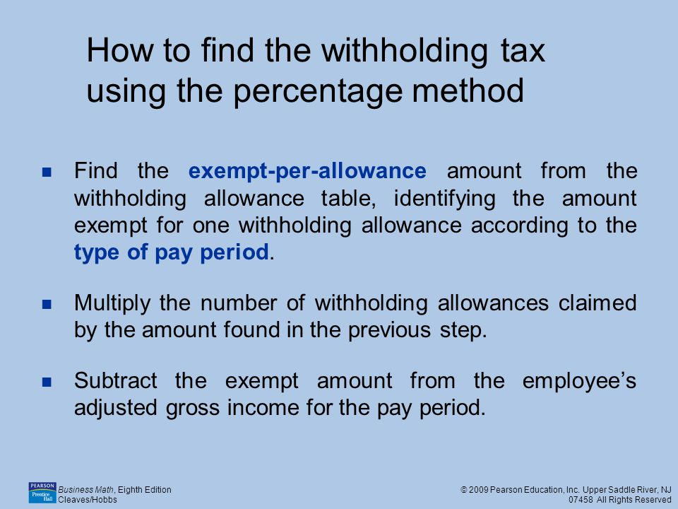 How to find the withholding tax using the percentage method