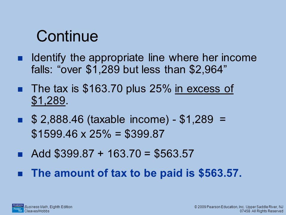 Continue Identify the appropriate line where her income falls: over $1,289 but less than $2,964 The tax is $163.70 plus 25% in excess of $1,289.