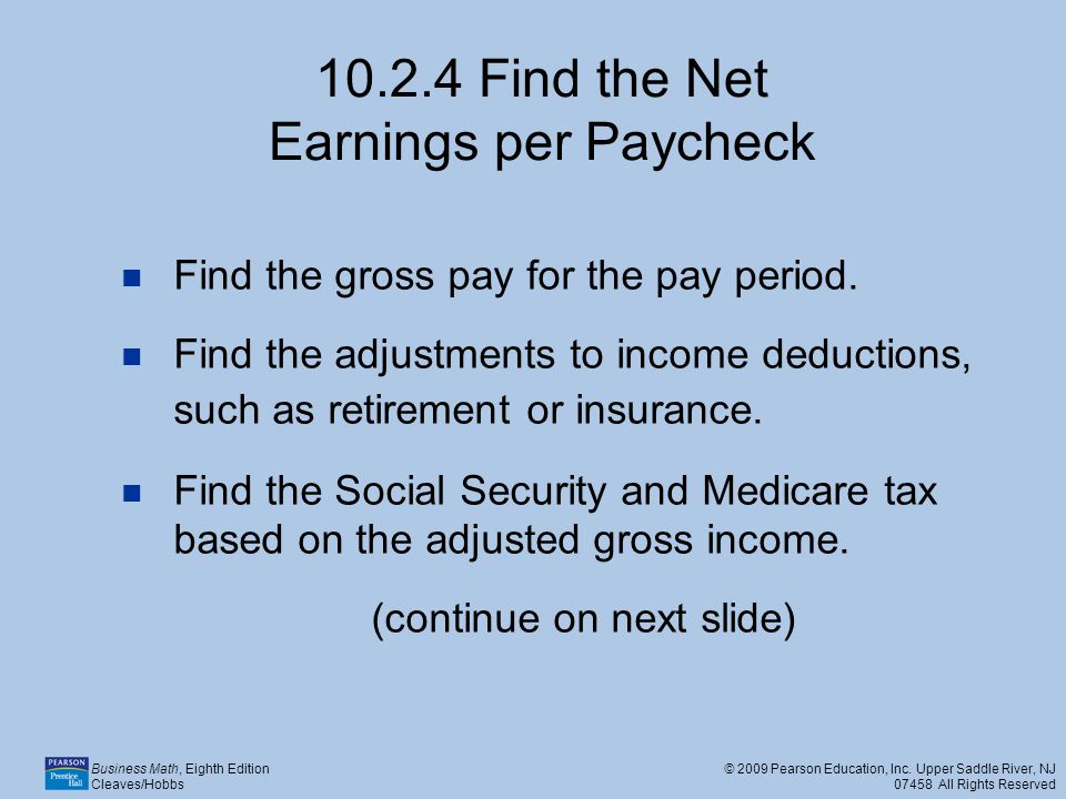 Find the Net Earnings per Paycheck