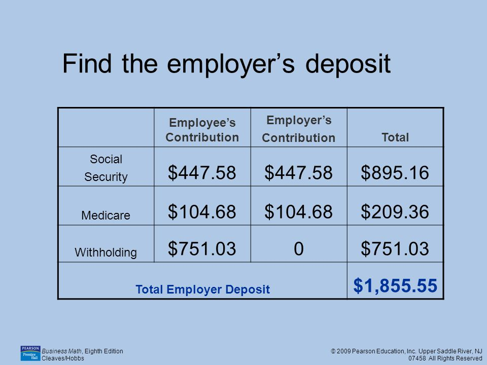 Find the employer's deposit