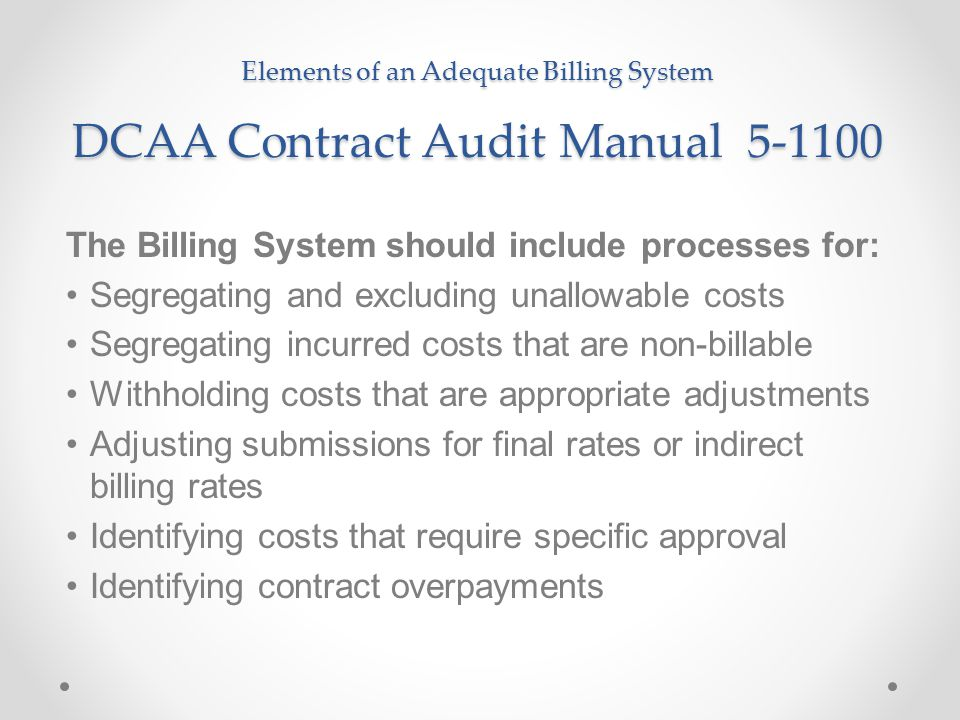 The Billing System should include processes for: