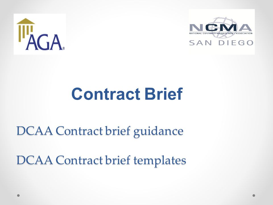 Contract Brief DCAA Contract brief guidance DCAA Contract brief templates
