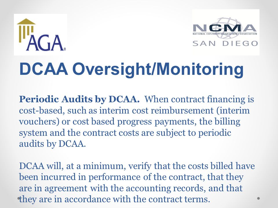 DCAA Oversight/Monitoring Periodic Audits by DCAA