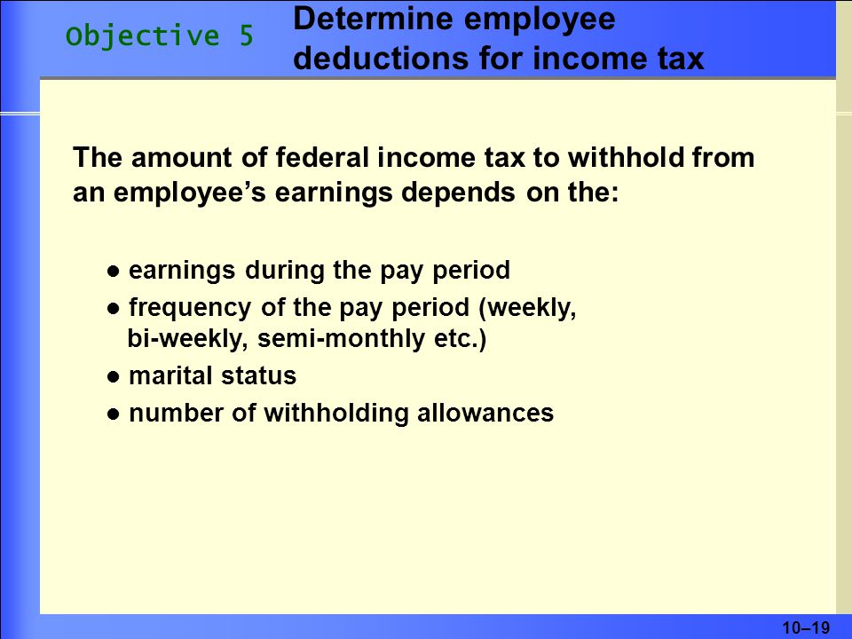 Determine employee deductions for income tax