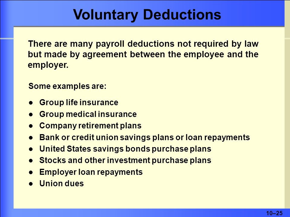 Voluntary Deductions There are many payroll deductions not required by law but made by agreement between the employee and the employer.