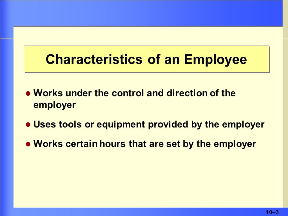 Characteristics of an Employee
