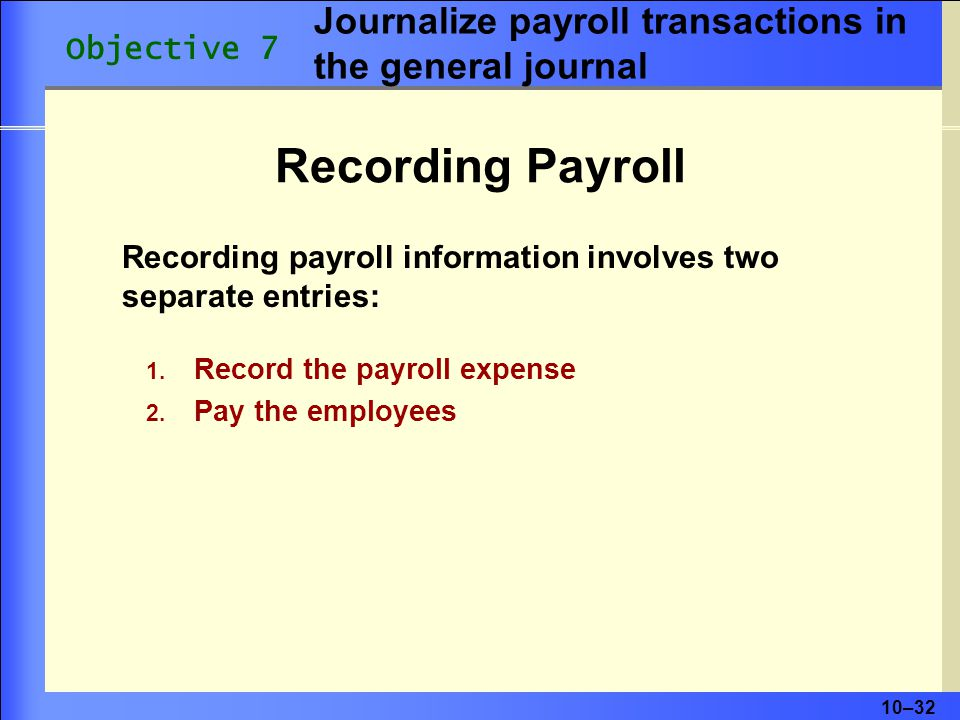 Journalize payroll transactions in the general journal
