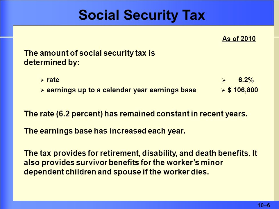 Social Security Tax As of 2010. The amount of social security tax is determined by: rate. 6.2% earnings up to a calendar year earnings base.