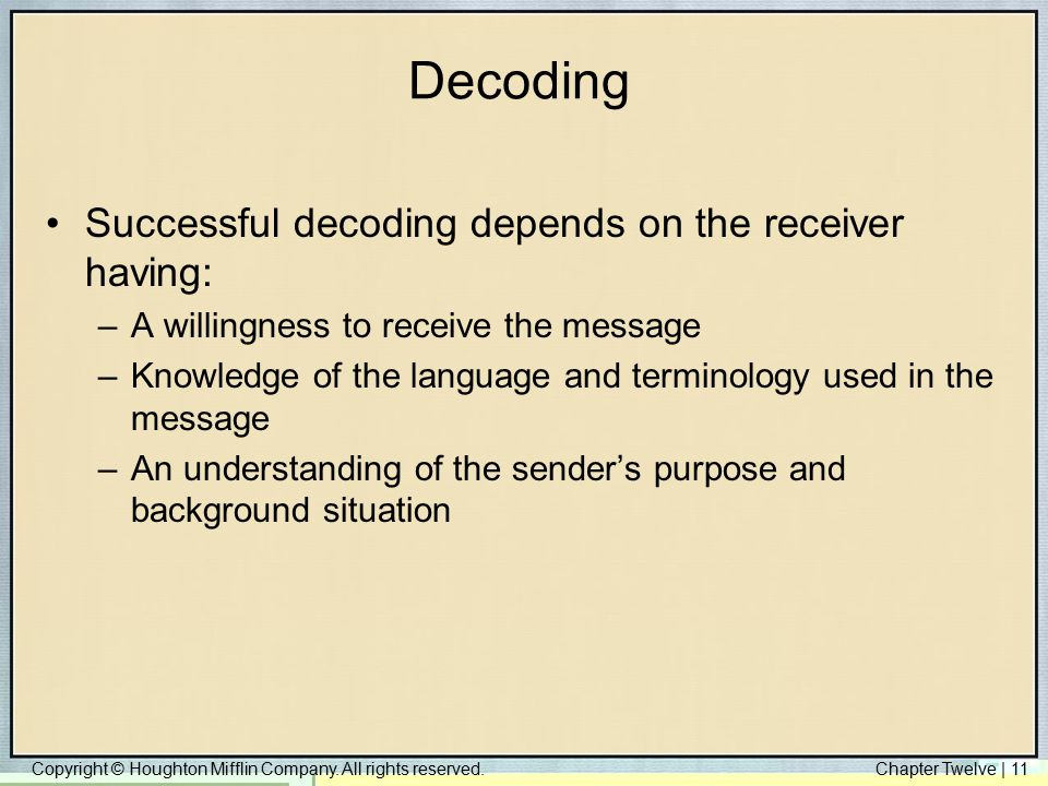 Decoding Successful decoding depends on the receiver having: