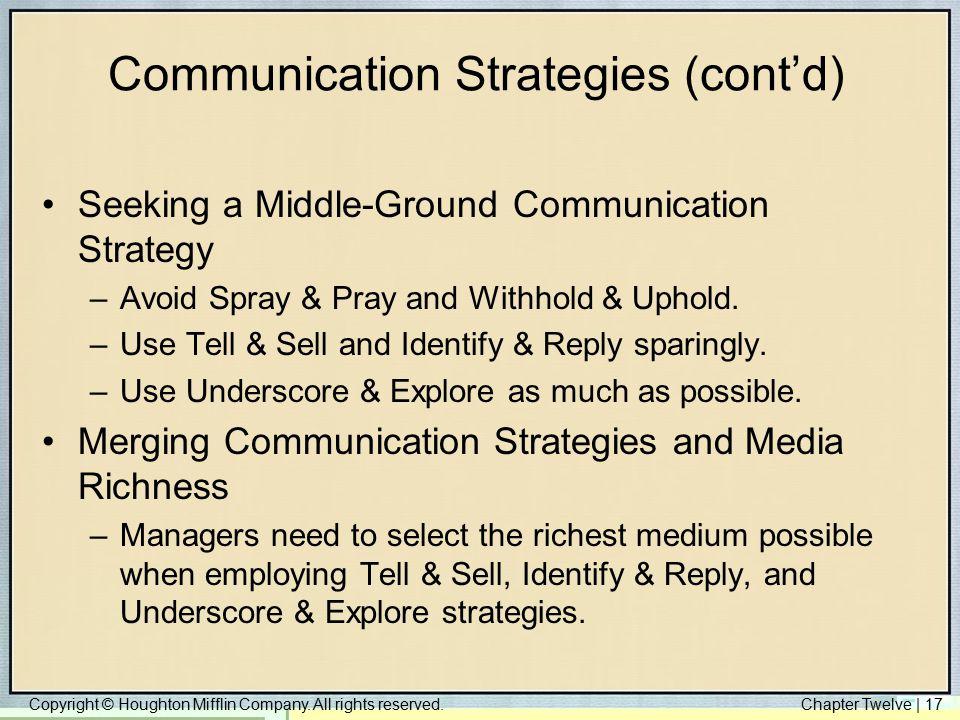 Communication Strategies (cont'd)