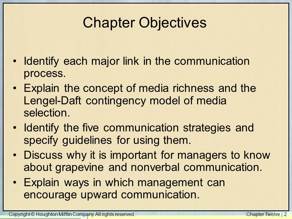 Chapter Objectives Identify each major link in the communication process.