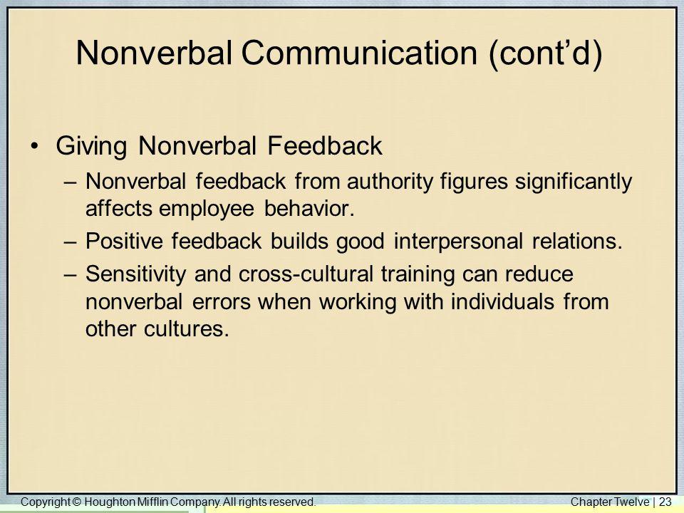 Nonverbal Communication (cont'd)