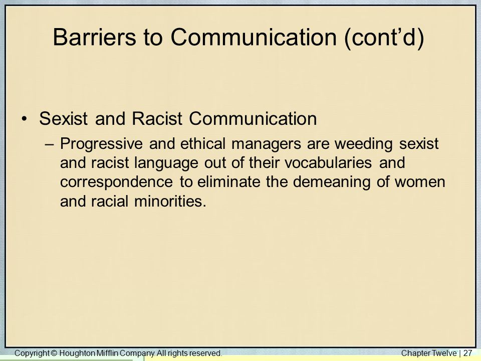Barriers to Communication (cont'd)