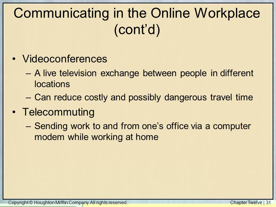 Communicating in the Online Workplace (cont'd)