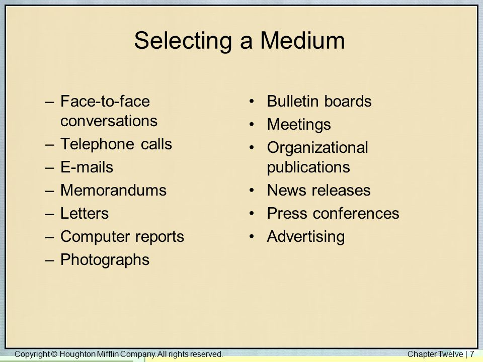 Selecting a Medium Face-to-face conversations Telephone calls E-mails