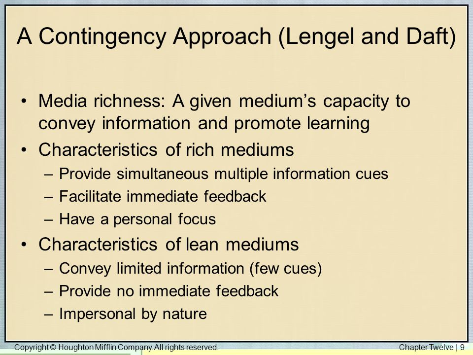A Contingency Approach (Lengel and Daft)