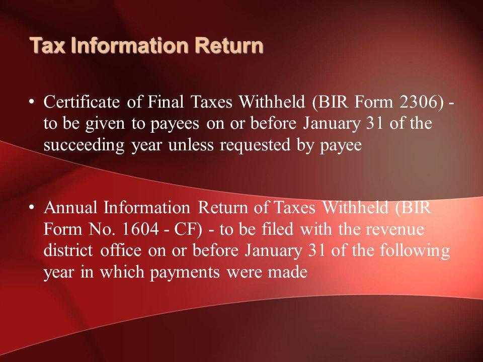 Tax Information Return
