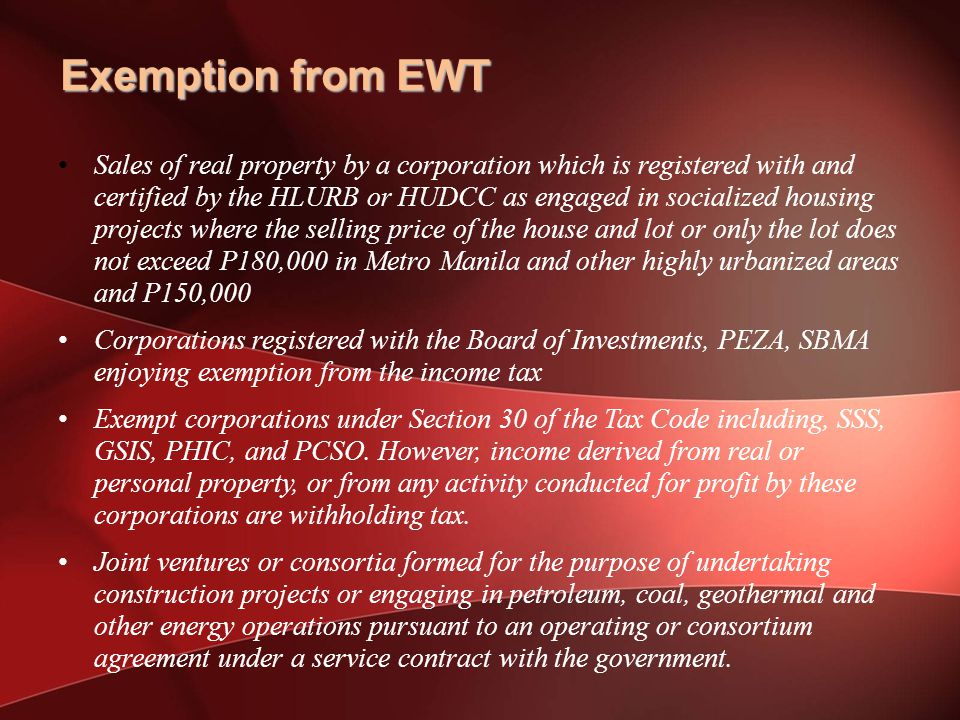 Exemption from EWT