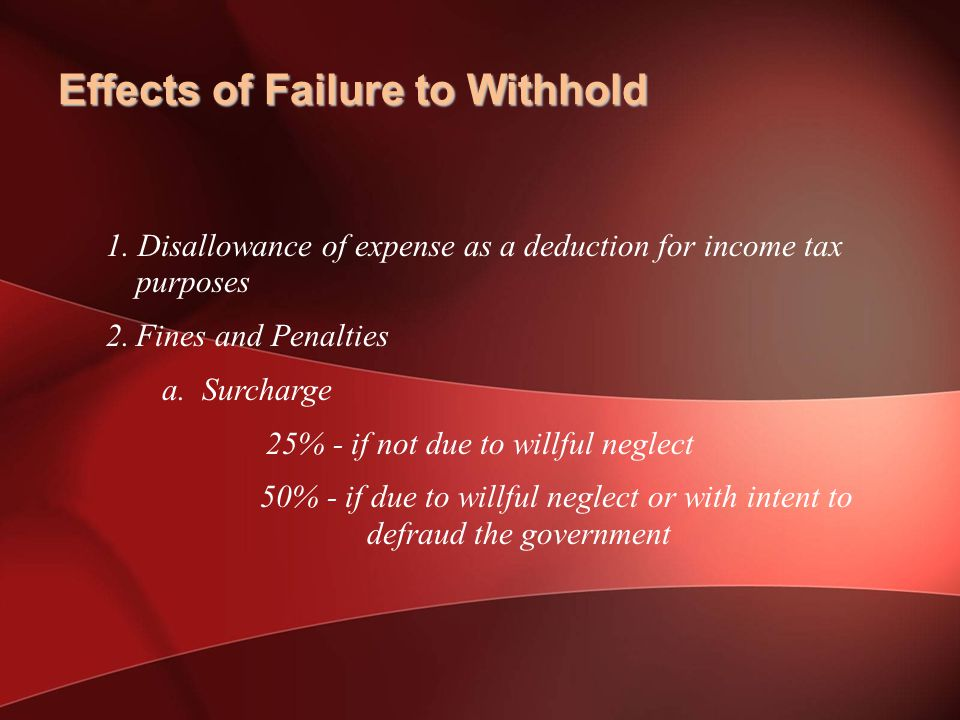 Effects of Failure to Withhold