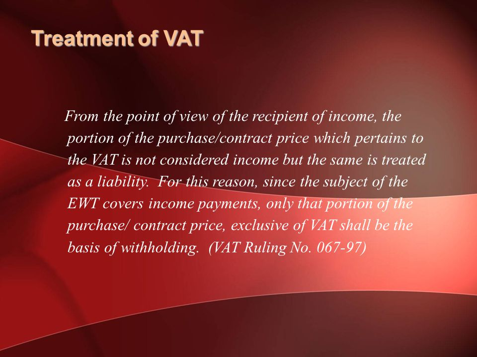 Treatment of VAT