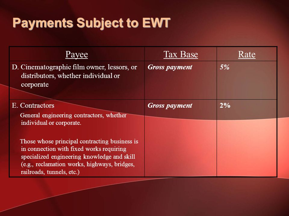 Payments Subject to EWT