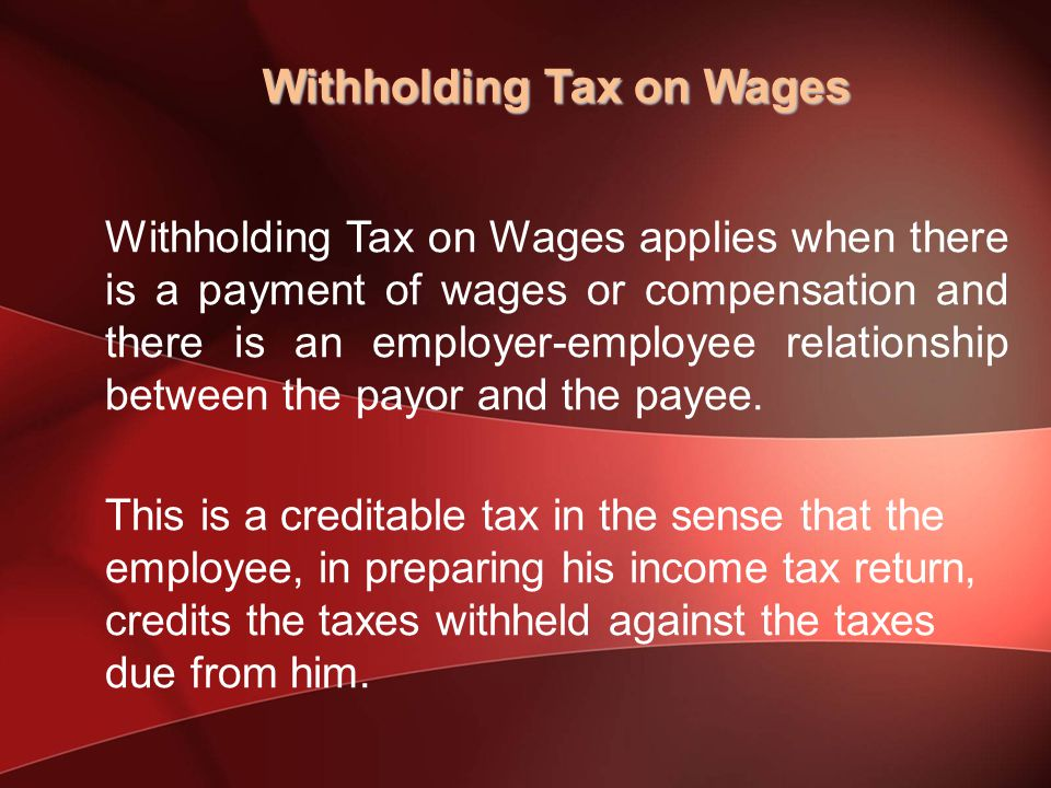 Withholding Tax on Wages