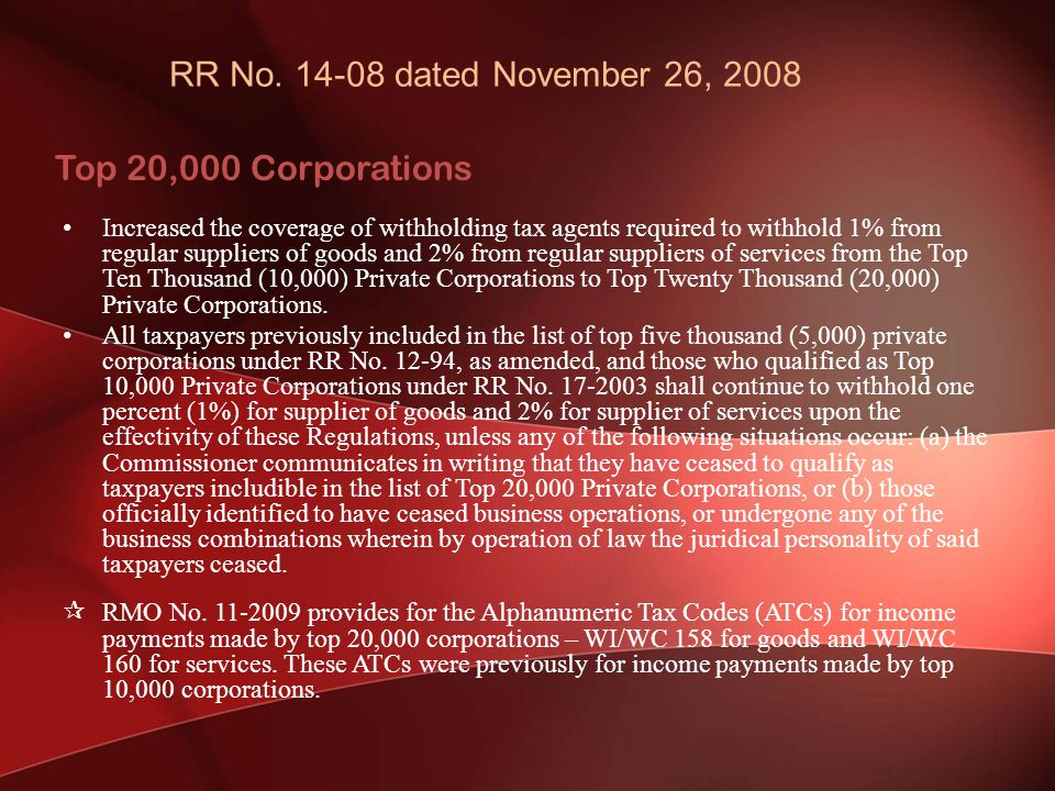 RR No. 14-08 dated November 26, 2008 Top 20,000 Corporations