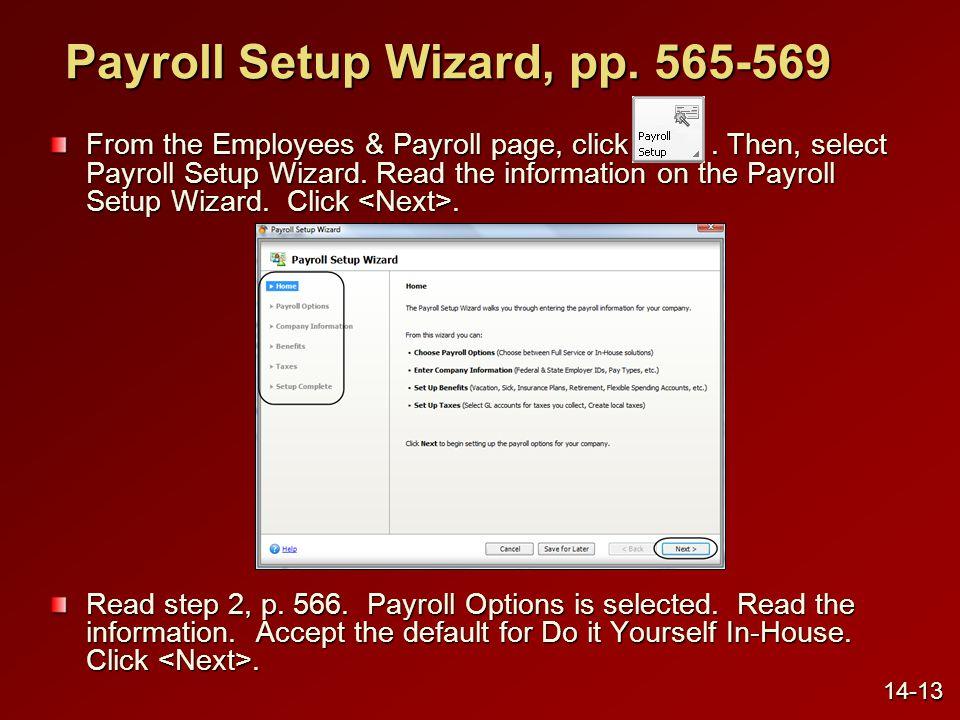 Payroll Setup Wizard, pp. 565-569