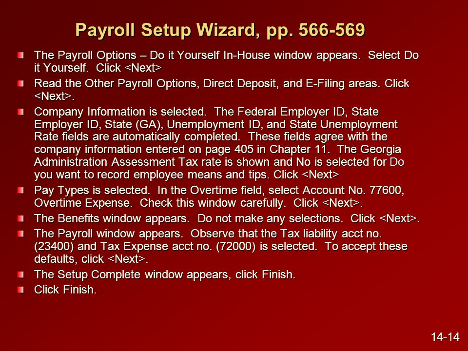 Payroll Setup Wizard, pp. 566-569