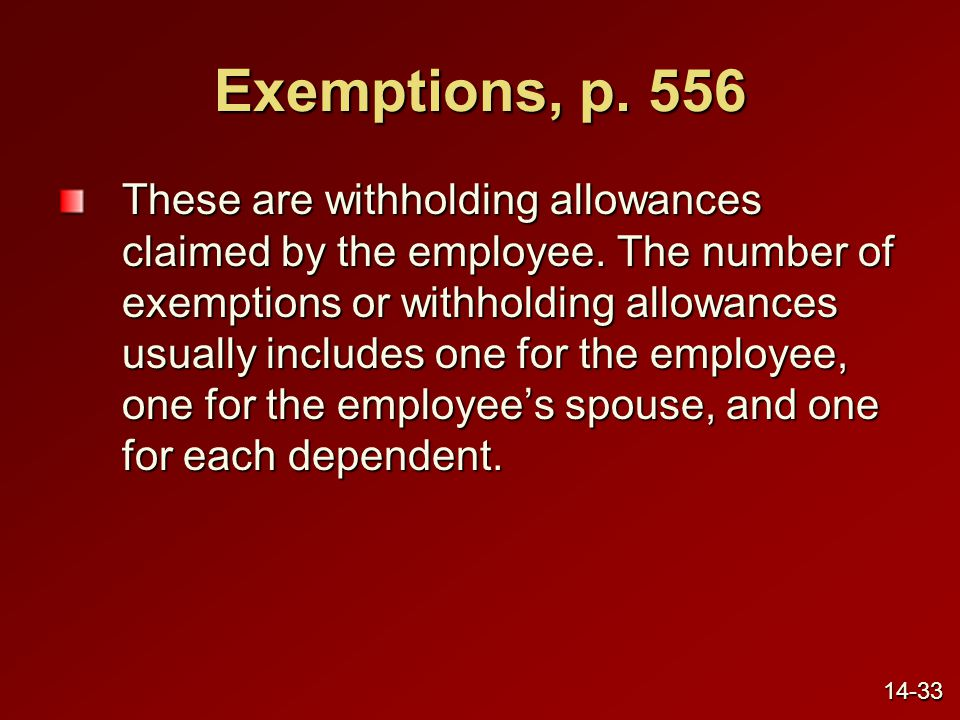 Exemptions, p. 556