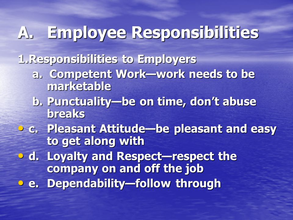 A. Employee Responsibilities
